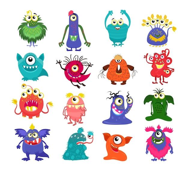 Monstruos. conjunto de lindo personaje de dibujos animados aislado sobre fondo blanco.