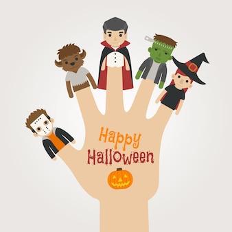 Monstruos de dedo halloween, feliz halloween