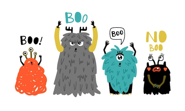 Monstruos de dibujos animados lindo boo. pequeños símbolos peludos de terror, ilustración vectorial de divertidos personajes extraños para mascota aislada sobre fondo blanco