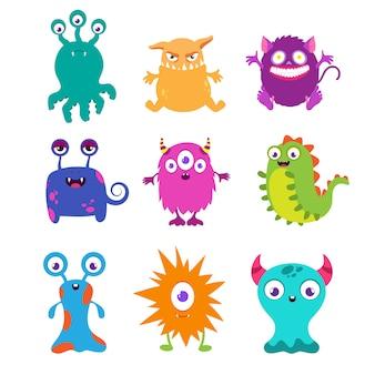 Monstruos divertidos de dibujos animados para camiseta