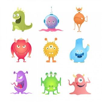Monstruos divertidos dibujos animados.
