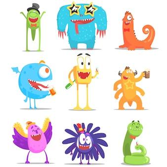 Monstruos divirtiéndose en la fiesta
