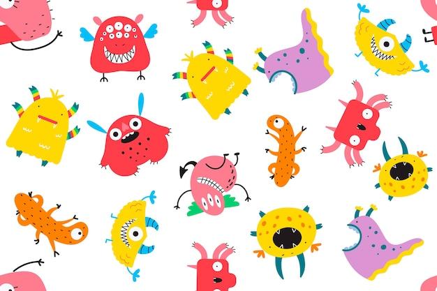 Monstruos doodle conjunto aislado en blanco