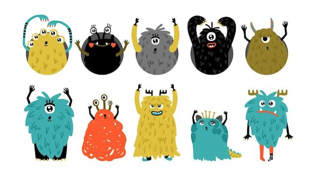 Monstruos de doodle. dibujos animados lindos personajes enojados, juego de vectores de avatares de prisa de fiesta de niños