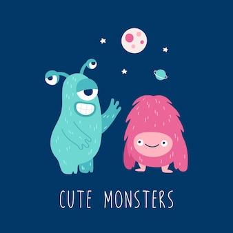 Monstruos lindos de dibujos animados para el diseño de impresión ilustración para niños