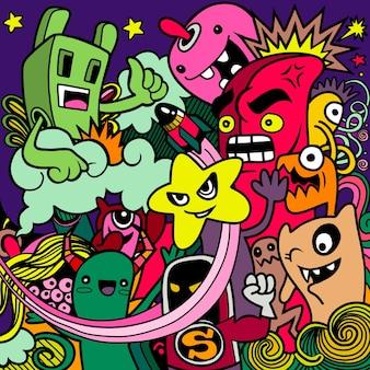 Monstruos y lindos extraterrestres amistoso, fresco, lindo colección de monstruos dibujados a mano