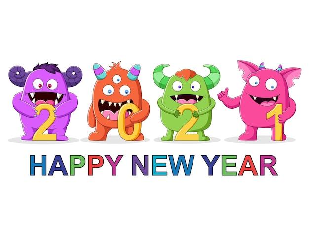 Monstruos lindos en feliz año nuevo