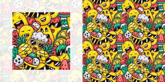 Monstruos lindos con helado y frutas en el patrón de doodle transparente de verano