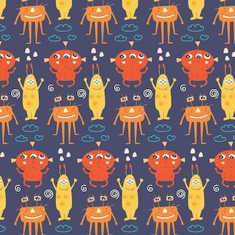 Monstruos lindos de patrones sin fisuras
