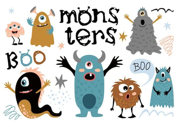 Monstruos peludos de dibujos animados criaturas lindas con cara divertida pequeños símbolos divertidos de personajes de humor de terror
