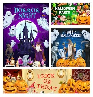 Monstruos de terror de la noche de halloween. fantasmas y calabazas con caramelos de truco o trato, red de araña, luna y murciélagos, momia, mano y cráneo de zombi, esqueleto de muerte, mago malvado y hombre lobo