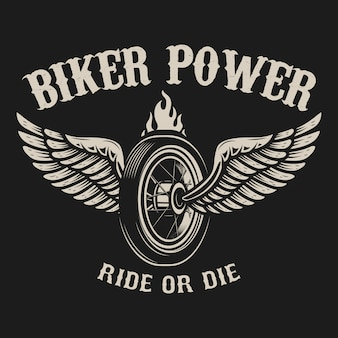 Monta o muere. rueda de moto con alas. elemento para cartel, emblema, signo, insignia. ilustración