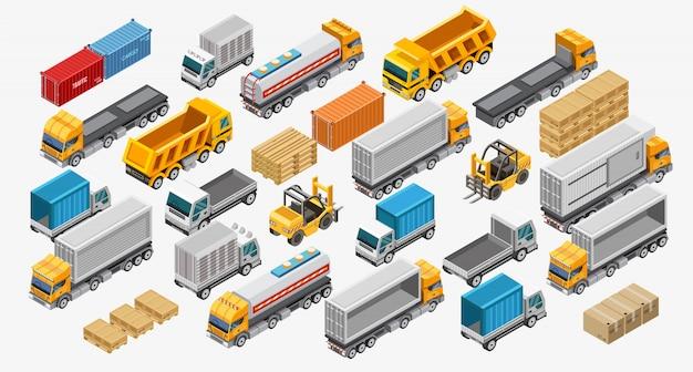 Montacargas y camiones cerca de bienes