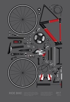 Montaje de bicicletas poster publicidad vector illustration