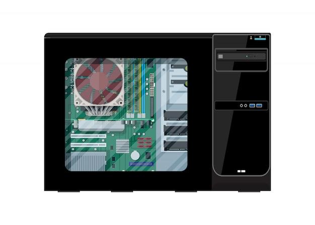 Montaje de pc. hardware de computadora personal.