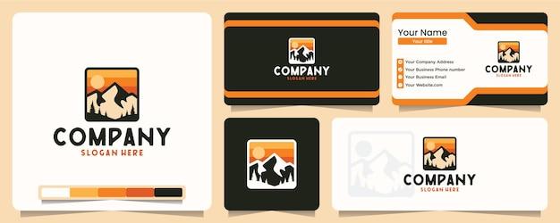 Montaña, aire libre, aventura, camiseta, diseño de logotipo y tarjeta de visita.