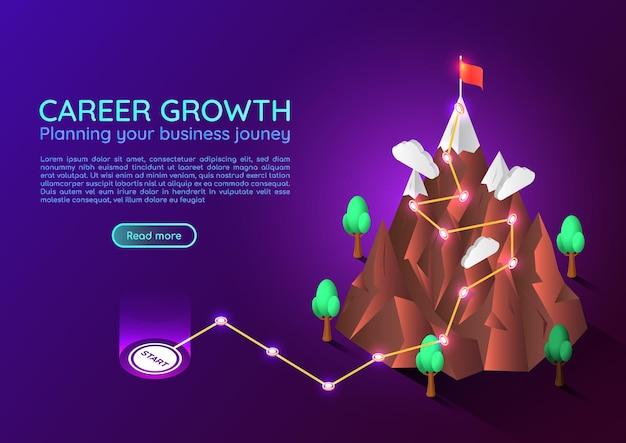 Montaña de banner web isométrica 3d con ruta de viaje de negocios hacia el objetivo de éxito en la cima. planificación empresarial. concepto de página de destino de crecimiento profesional y logro de objetivos.