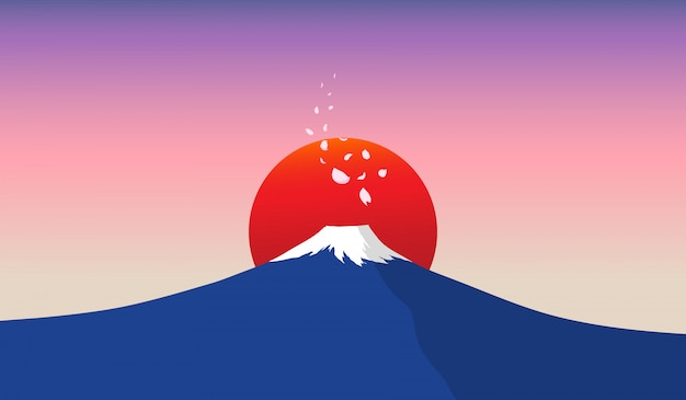 Montaña fuji con sol rojo en el fondo