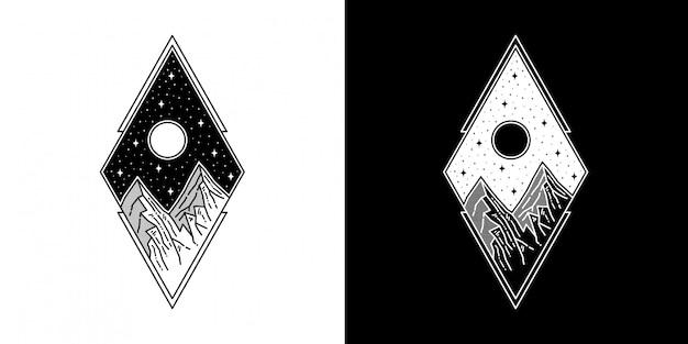 Montaña geométrica con diseño de luna tatuaje monoline