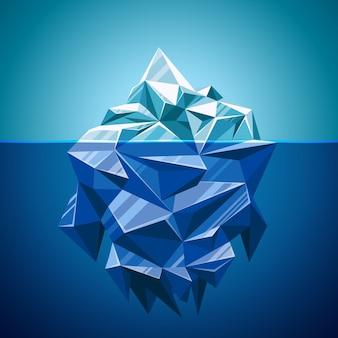 Montaña de iceberg de vector de nieve en estilo poligonal. agua y mar, paisaje submarino y antártico