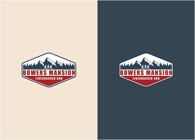 Montaña de ilustración creativa con gente corriendo deporte logo design vector