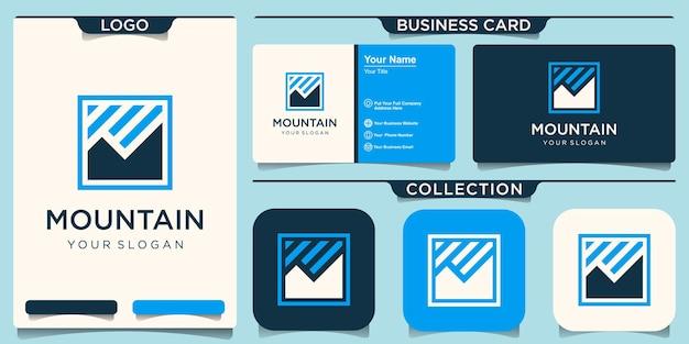 Montaña logo vector línea diseño paisaje símbolo