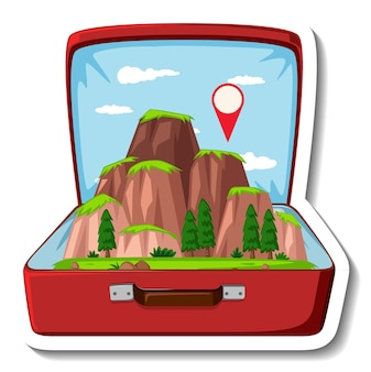 Montaña en la maleta abierta