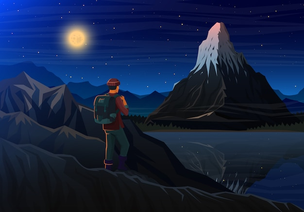Montaña matterhorn con turista, vista panorámica nocturna de picos con cascada, paisaje temprano en la luz del día.