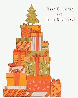 Montaña navideña vintage con cajas de regalo