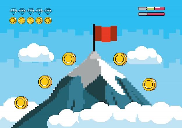 Montaña nevada con bandera roja y monedas