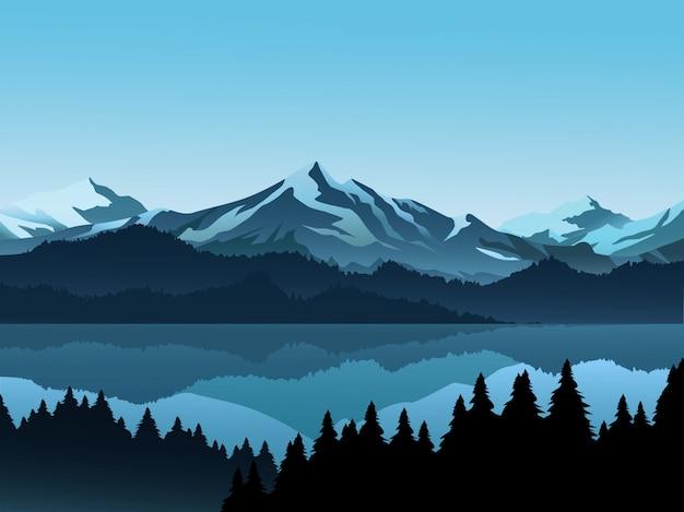 Montaña con nieve, lago y bosque de pinos