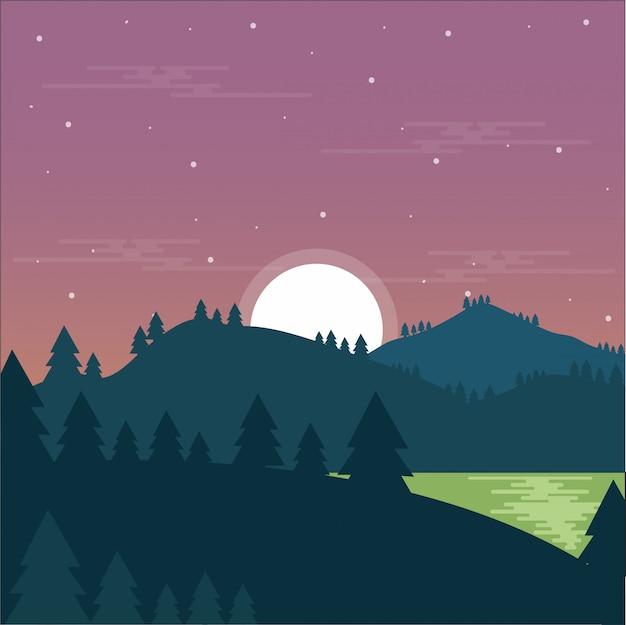 Montaña paisaje noche lago bosque
