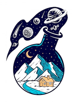 Montaña y universo en ilustración de botellas de vidrio