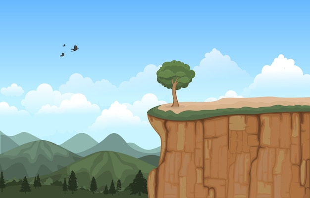 Montaña valle cliff tree naturaleza paisaje vector illustration