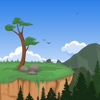 Montaña valle cliff tree naturaleza paisaje vector illustration