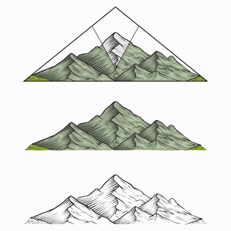 Montaña vintage dibujada a mano