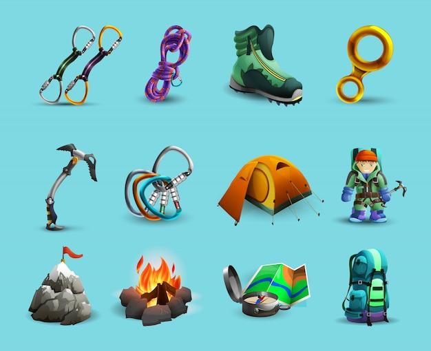 Montañas alpinas, escalada, iconos 3d, conjunto