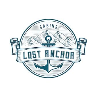 Montañas con anchor logo badge
