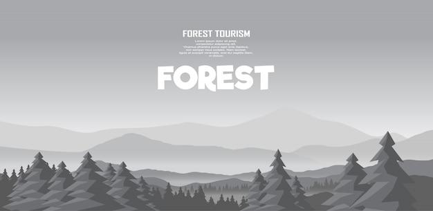 Montañas y bosque panorama vector paisaje ilustración. montañismo y viajes