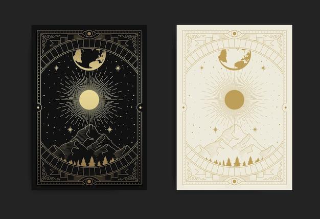 Montañas, bosques, luna y estrellas, símbolo de la naturaleza