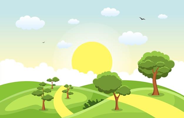 Montañas colinas hierba verde árbol naturaleza paisaje cielo