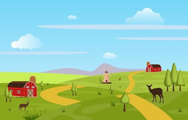 Montañas colinas verde campo de la granja paisaje cielo