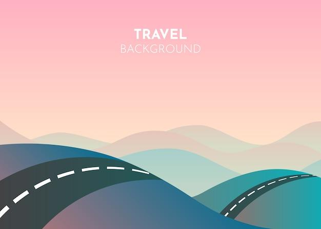 Montañas de dibujos animados de carretera, ideales para cualquier propósito. ilustración de paisaje de viaje. camino a través de montañas.