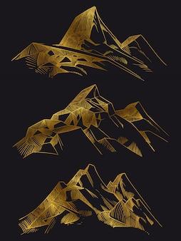 Montañas doradas isoated en negro