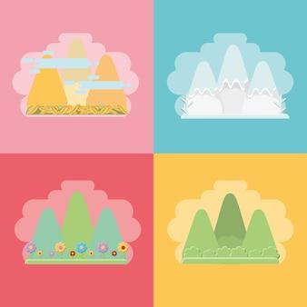 Montañas con los efectos de los climas estacionales