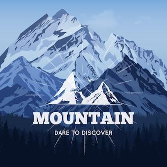 Montañas en el fondo de invierno