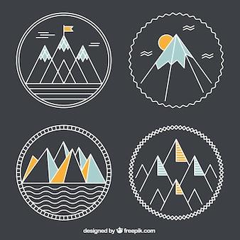 Montañas geométricas insignias