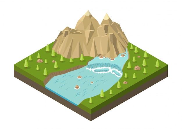 Montañas isométricas con cascada, río y árboles.