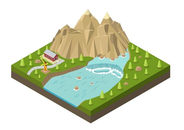 Montañas isométricas con cascada, río, casa y árboles.