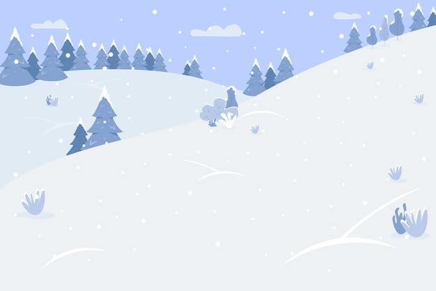 Montañas nevadas semi planas. estación de invierno para deportes extremos. lugar con árboles y colinas. nevadas en fiesta tradicional. paisaje de dibujos animados 2d de temporada fría para uso comercial